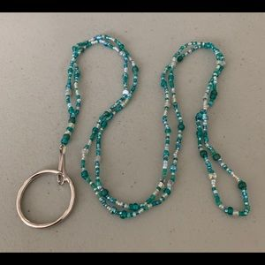 Lanyard- Teal and white